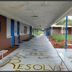 School hallway sidewalk
